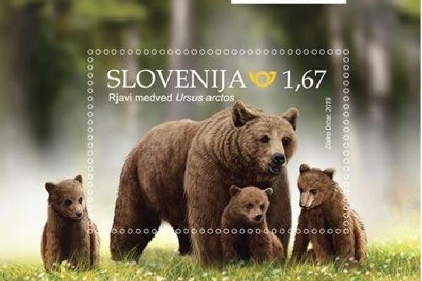 Smeđi medvjed na slovenskim markama